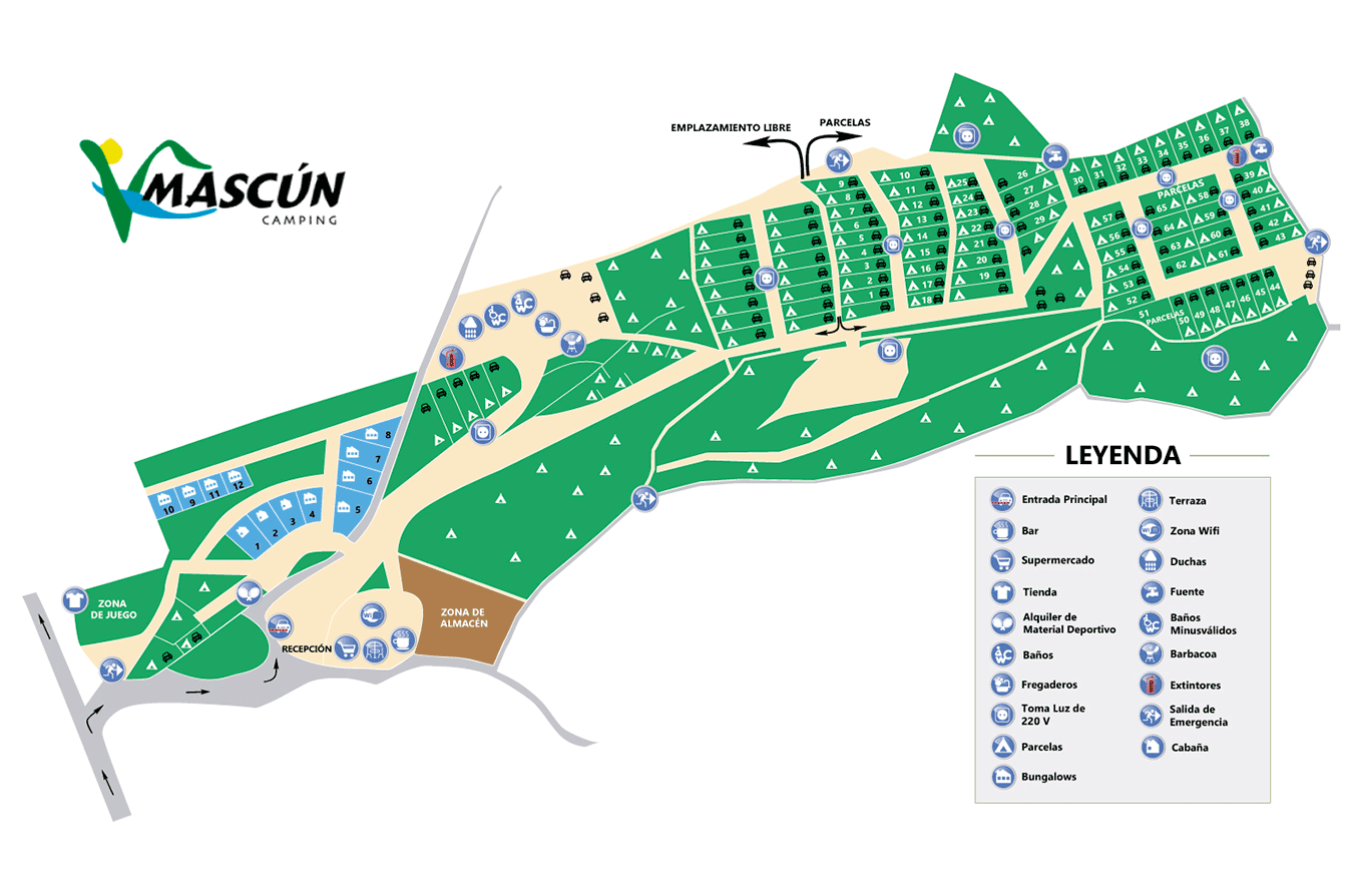 Map Camping Mascun. Located in Rodellar, Natural Park of the Sierra de Guara